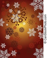 赤い背景, 雪片