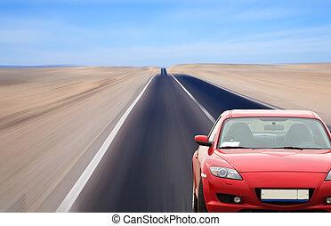 赤い自動車, 上に, 砂漠, 道