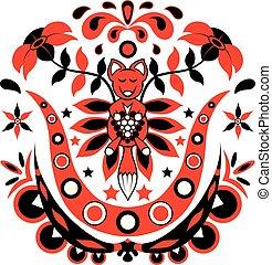 赤い黒字, キツネ, 花, イラスト