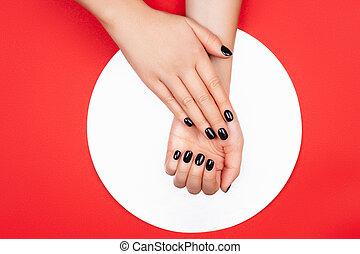 赤い黒字, マニキュア, 創造的, 背景