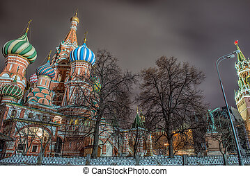 赤の広場, st. 。, basil's, cathedral., モスクワ, ロシア