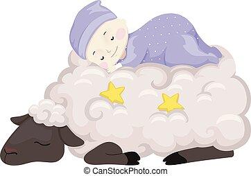 赤ん坊のヒツジ, 睡眠, イラスト