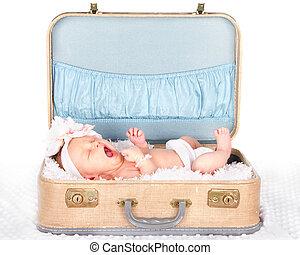 赤ん坊, あくびする, スーツケース