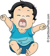 赤ん坊, あくびする