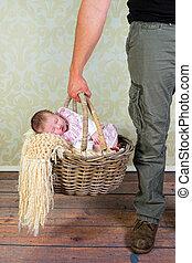 赤ん坊, お父さん, 買い物, 行く