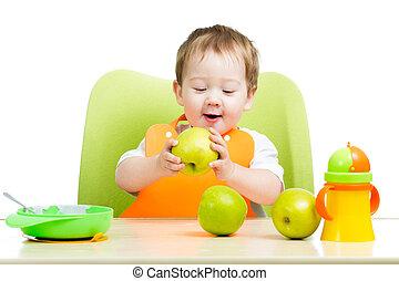 赤ん坊, かわいい, りんごを食べること, 男の子