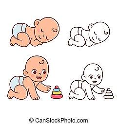赤ん坊, かわいい, イラスト, sey