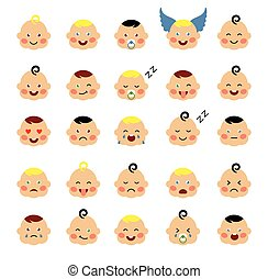 赤ん坊, かわいい, セット, emoticons.