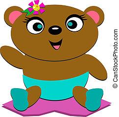 赤ん坊, かわいい, 花, 熊