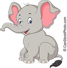 赤ん坊, かわいい, 象, 漫画, モデル