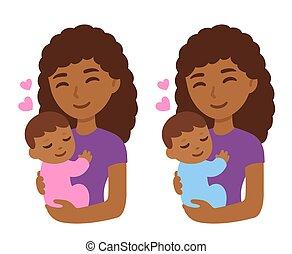 赤ん坊, かわいい, 黒, 母