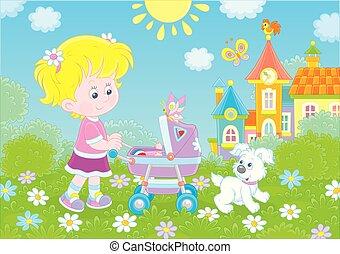 赤ん坊, わずかしか, おもちゃ, 女の子, バギー