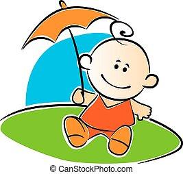 赤ん坊, わずかしか, 傘, 保有物