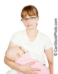 赤ん坊, わずかしか, feeding., 胸