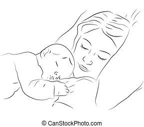 赤ん坊, アイコン, 睡眠, 母