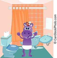 赤ん坊, カバ, 浴室