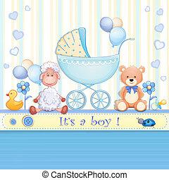 赤ん坊, カード, シャワー