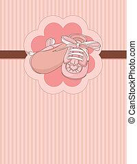 赤ん坊, カード, 場所, 靴, ピンク
