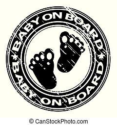 赤ん坊, ゴム, 板, 切手