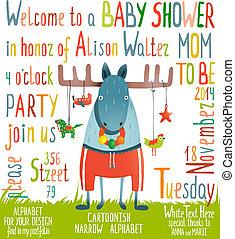 赤ん坊 シャワー, 動物, 招待