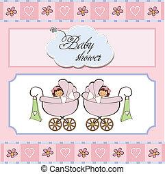 赤ん坊 シャワー, 双子, カード
