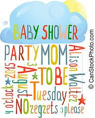 赤ん坊 シャワー, 雲, 招待