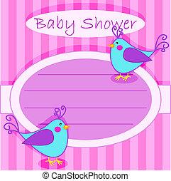 赤ん坊 シャワー, 鳥, invitation-girl
