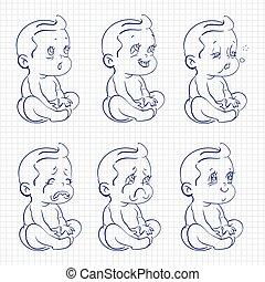 赤ん坊, スケッチ, ボールペン