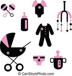 赤ん坊, セット, の, おもちゃ, そして, 衣類
