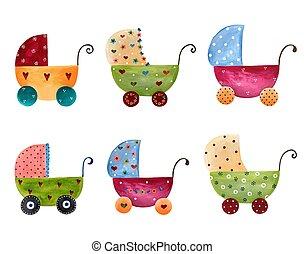 赤ん坊, セット, artwork., 乳母車