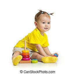 赤ん坊, タワー, 隔離された, カラフルである, 遊び