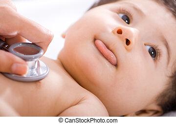 赤ん坊, チェックされた, によって, 医者