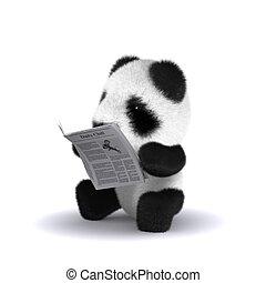 赤ん坊, ニュース, 読む, パンダ, 3d