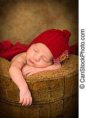 赤ん坊, バケツ, グランジ, 眠い