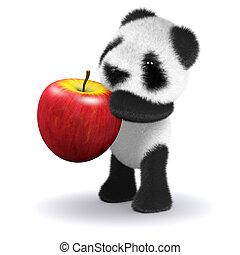 赤ん坊, パンダ, 3d, アップル, 食べる