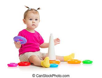 赤ん坊, ピラミッド, 隔離された, カラフルである, 遊び