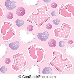 赤ん坊, ピンク, seamless, パターン