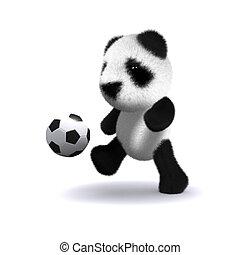 赤ん坊, フットボール, パンダ, 3d
