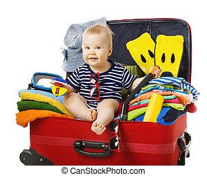 赤ん坊, フルである, 手荷物, 座りなさい, 旅行, 手荷物, 休暇, 隔離された, 所有物, 旅行, 子供, スーツケース, 白い浜, 子供