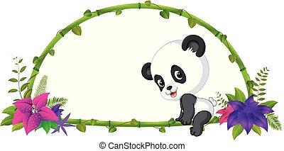 赤ん坊, フレーム, 竹, パンダ