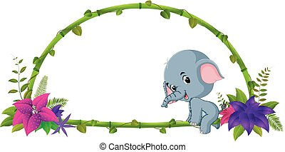赤ん坊, フレーム, 竹, 象