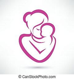 赤ん坊, ベクトル, お母さん, アイコン
