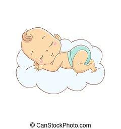 赤ん坊, ベクトル, イラスト, cloud., 漫画, 睡眠