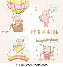赤ん坊, -, ベクトル, カード, シャワー, ∥あるいは∥, 女の子, ねこ, セット, 到着