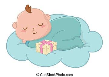 赤ん坊, ベクトル, 雲, イラスト, 睡眠