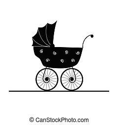 赤ん坊, ベクトル, stroller, 漫画