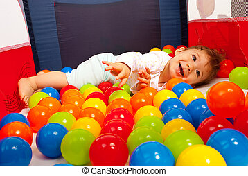 赤ん坊, ボール, 遊び, 幸せ