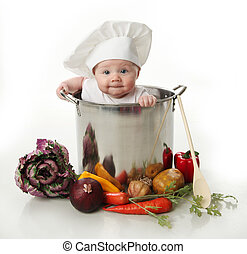 赤ん坊, ポット, 料理