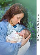 赤ん坊, メアリーの, 手, swaddles, イエス・キリスト