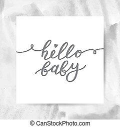 赤ん坊, レタリング, こんにちは